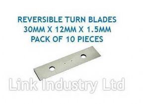 10 pces. 30 x 12 x 1.5mm CARBIDE REVERSIBLE TURN BLADES REVERSIBLE TIP KNIVES